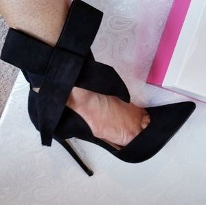 JustFab Shoes - Faux Suede Bow Heels (JustFab)